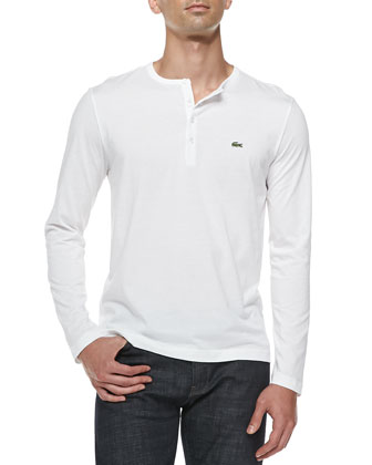 Long-Sleeve Pima Henley, White