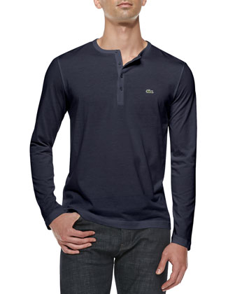 Long-Sleeve Pima Henley, Navy