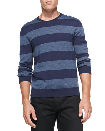 Rugby-Stripe Cashmere Sweater, Marine Blue