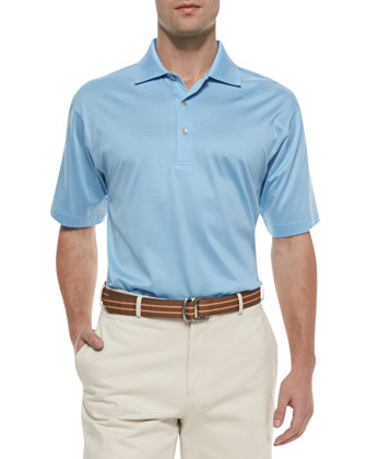 Cotton Short-Sleeve Polo, Blue