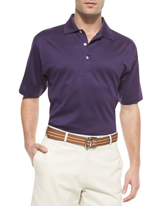 Cotton Short-Sleeve Polo Shirt, Purple