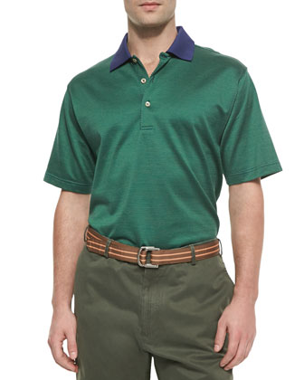 Dotted Cotton Polo Shirt, Navy-Green