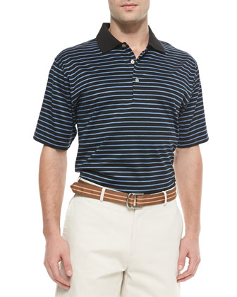 Thin-Striped Cotton Polo Shirt, Black-Blue