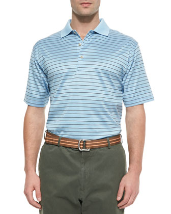 Thin-Striped Cotton Polo Shirt, Blue-Black