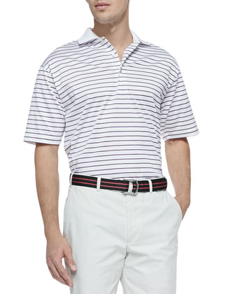 Striped-Knit Short-Sleeve Polo, White-Sherry