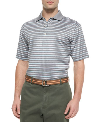 Striped Cotton Polo Shirt with Contrast Collar