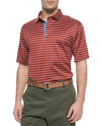 Thin-Striped Cotton Polo Shirt, Orange-Blue