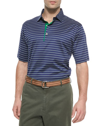 Thin-Striped Cotton Polo Shirt, Navy-Green