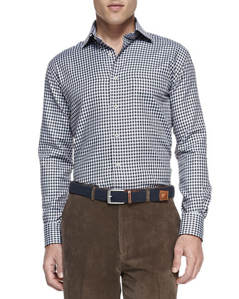 Exploded Houndstooth Sport Shirt & NanoLuxe Cashmere Corduroy Pants