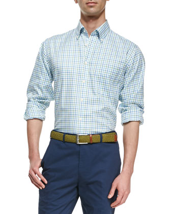 Cotton Tattersall-Check Sport Shirt, White-Blue-Green