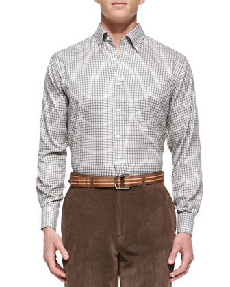 NanoLuxe Tattersall-Check Sport Shirt, Black & Khaki