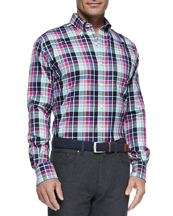 Multi-Check Poplin Sport Shirt, Multi