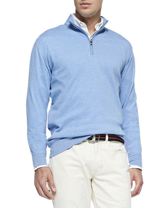 Cotton-Blend 1/2-Zip Pullover, Elixir Blue
