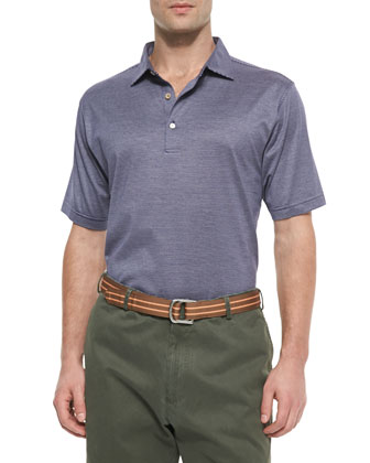 Fine-Stripe Short-Sleeve Polo, Navy