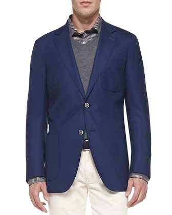 Travel Wool Blazer, Small Tattersall Sport Shirt & Textured Knit 1/2-Zip ...