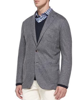 Warp-Knit Cardigan Jacket, Cashmere V-Neck Sweater, Houndstooth-Plaid Sport ...