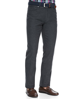 Merino V-Neck Sweater, Bengal Striped Woven Shirt & Twill Five-Pocket Trousers