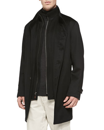 Sebastian Storm System Car Coat, Cashmere Cable-Knit Half-Zip Sweater, ...