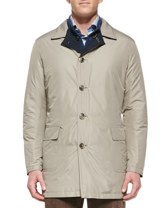 Packable Reversible Coat, Navy/Tan