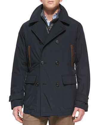 Firenza 2-in-1 Double-Breasted Coat, Navy
