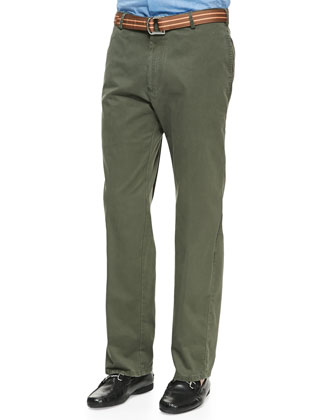 Raleigh Washed-Twill Pants, Olive