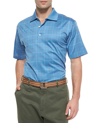 Check Cotton Polo Shirt, Iberian Blue
