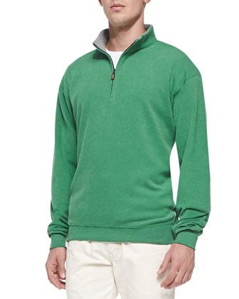 Cotton-Fleece 1/2-Zip Pullover, Mountain Green