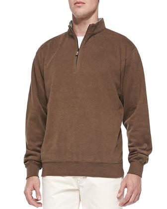 Cotton-Fleece 1/2-Zip Pullover, Wicker