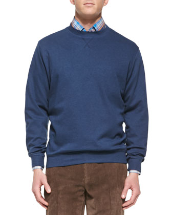 Interlock Knit Crewneck Sweater, Patriot Navy