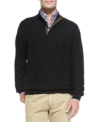 Textured Knit 1/2-Zip Sweater, Black