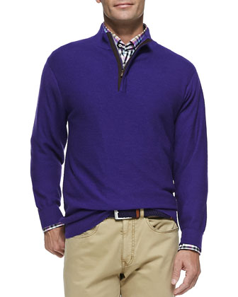 Knit Hidden 1/2-Zip Sweater, Purple