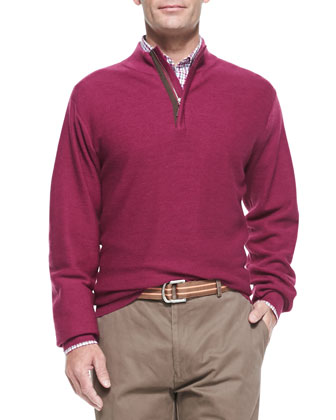 Textured Knit 1/2-Zip Sweater, Antique Rose