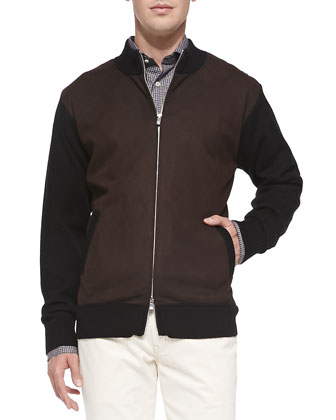 Colorblock Zip-Front Cardigan Jacket, Black