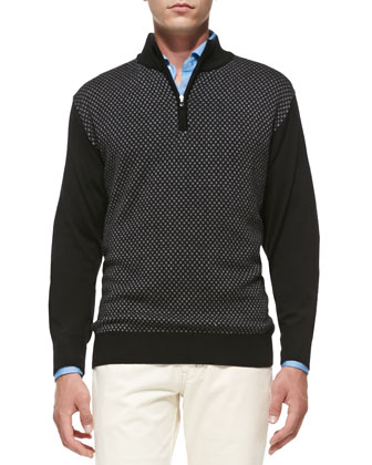 Thai Jacquard 1/2-Zip Sweater, Black/Gray