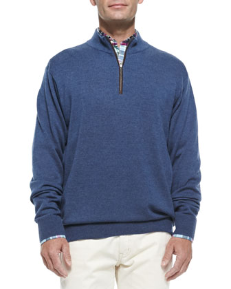 1/2-Zip Merino Wool Sweater, Gray