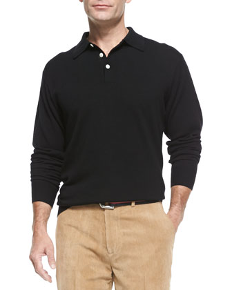 Long-Sleeve Merino Polo Shirt, Black