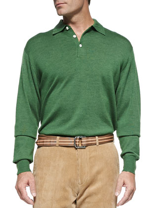 Merino 3-Button Shirt, Mt. Green