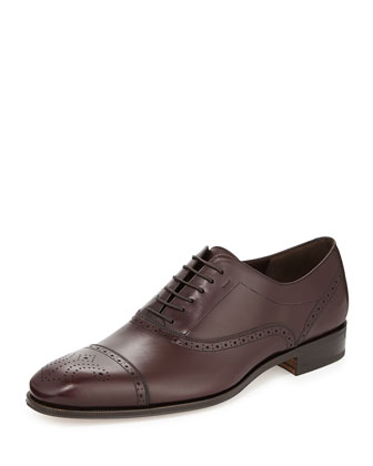 Caesy Leather Lace-Up Oxford, Burgundy