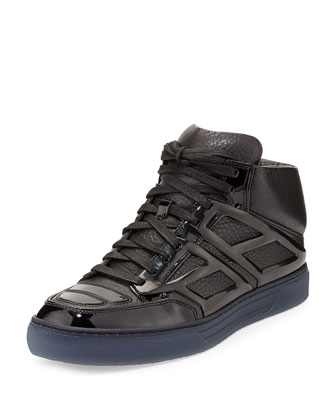Pebbled Calfskin High-Top Sneaker