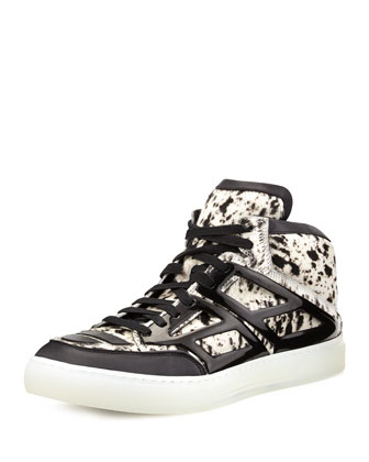 Speckled Calf-Hair High-Top Sneaker, White/Black