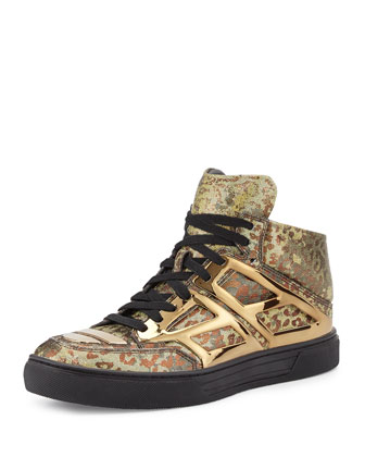 Iridescent Leopard Print High-Top Sneaker, Gold