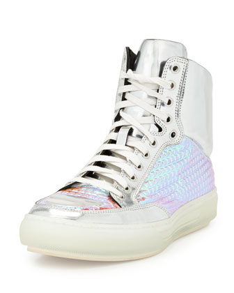 Iridescent Grid & Metallic Leather High-Top Sneaker, Silver