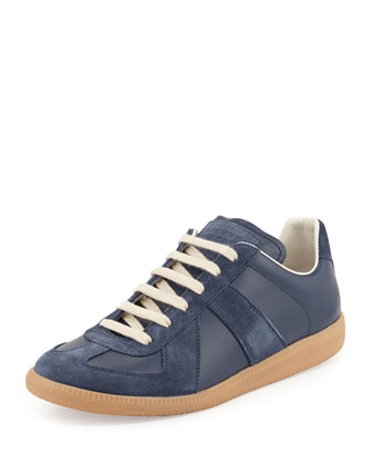 Replica Leather Low-Top Sneaker, Navy