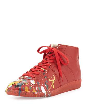 Splatter-Detail Mid-Top Replica Sneaker, Red