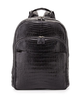 Caiman Crocodile Backpack, Black