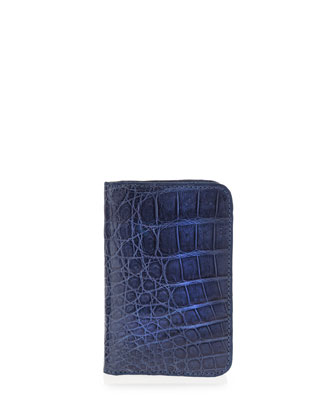 Crocodile Foldover Card Case, Denim