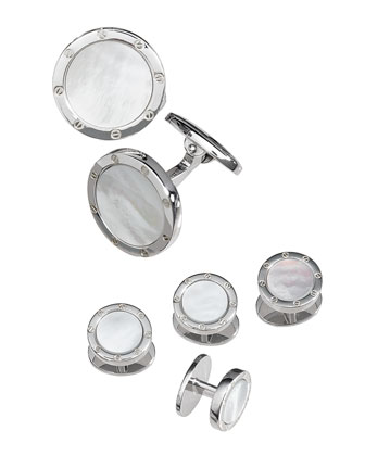 Round Mother-of-Pearl Cuff Link and Stud Set