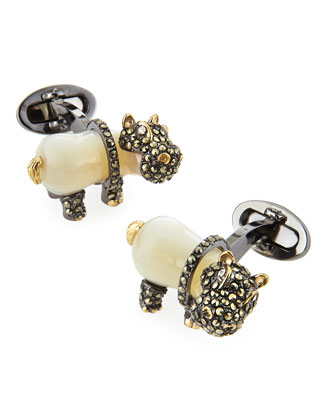 Mother-of-Pearl Hippo Cuff Links