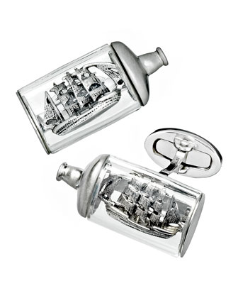 Ship-in-a-Bottle Cuff Links