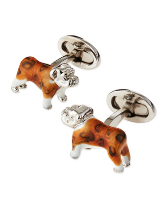 Sterling and Enamel Bulldog Cuff Links